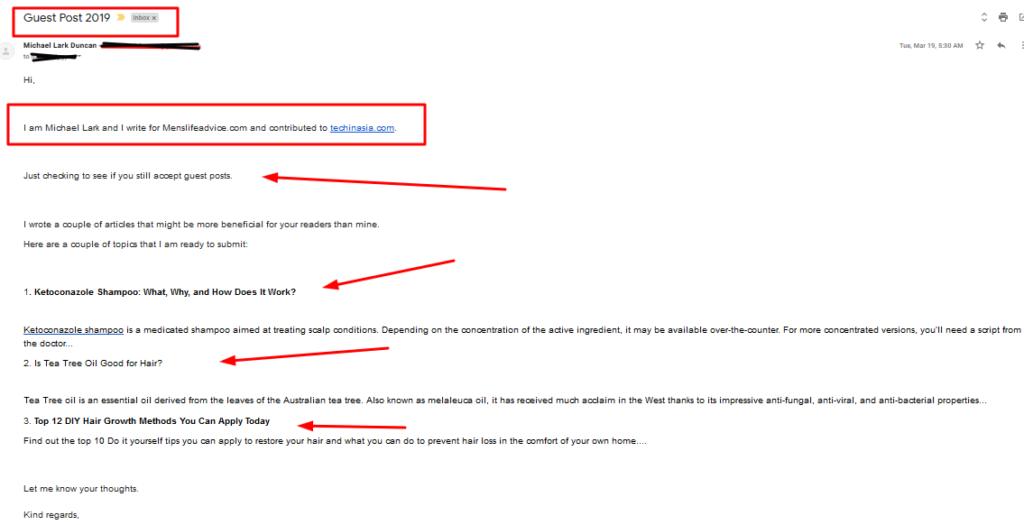 Link building email sent