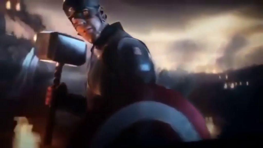 Avengers Endgame Captain America wields Mjolnir