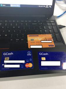 GCash Card Master Card and UNIONBANK VISA
