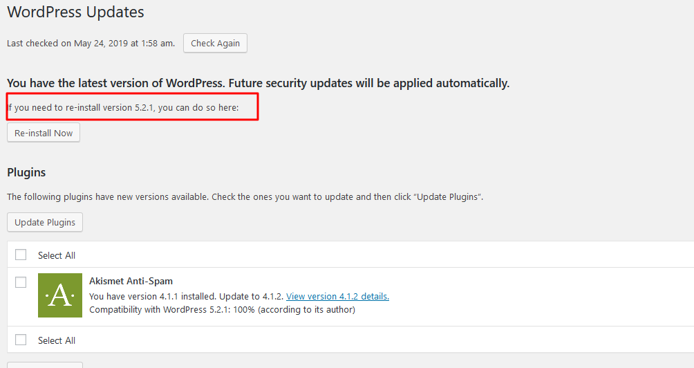 Wordpress 5.2.1 Installation