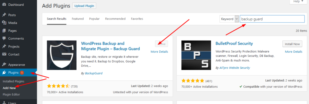 Installing backup guard on wordpress