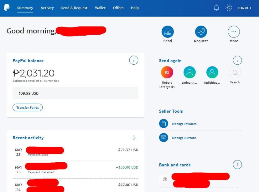 Paypal Desktop interface