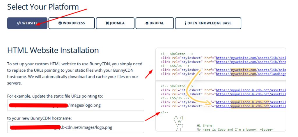 html platform for bunnycdn