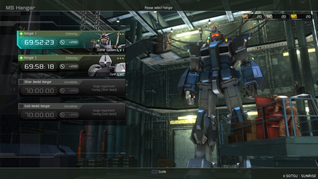 Enhancing two mobile suits in gundam battle operation 2