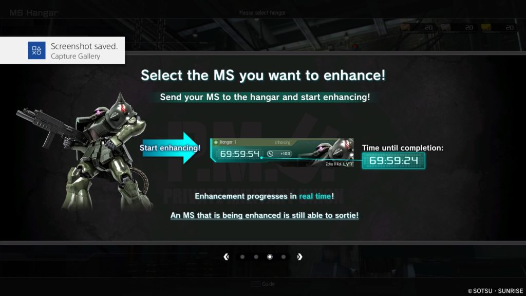 Choose the mobile suit you wish to enhace