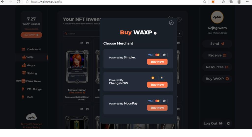 how to buy wax using wax wallet