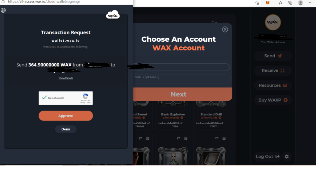 how to transfer waxp to correct wax wallet
